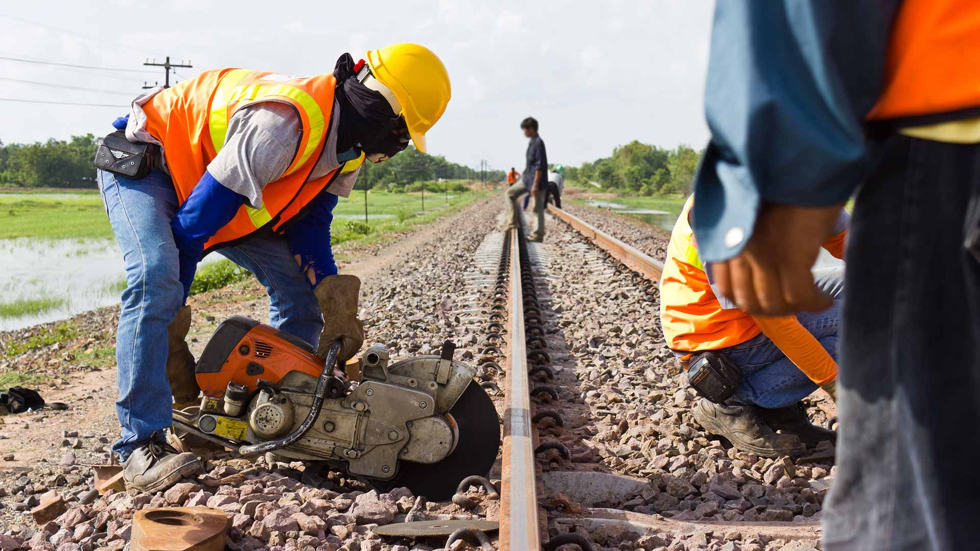 22096234 Workers Were Cutting Tracks For Maintenance  Stock Photo Railroad